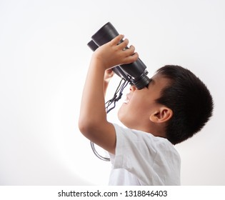boy with binoculars on white background.