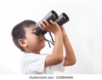 boy with binoculars on white background