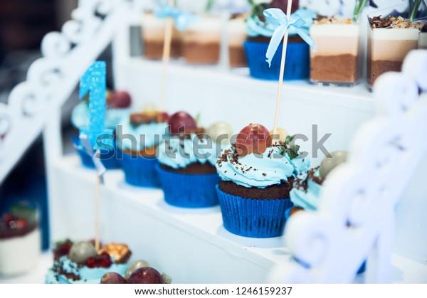 Outstanding Boy Birthday Cake Smash Infant Boys Stock Photo Edit Now 1246159237 Personalised Birthday Cards Petedlily Jamesorg