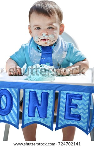 Boy Birthday With Smash Cake And Letters One No Background 1st