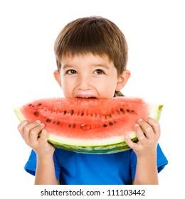 the boy bites a water-melon