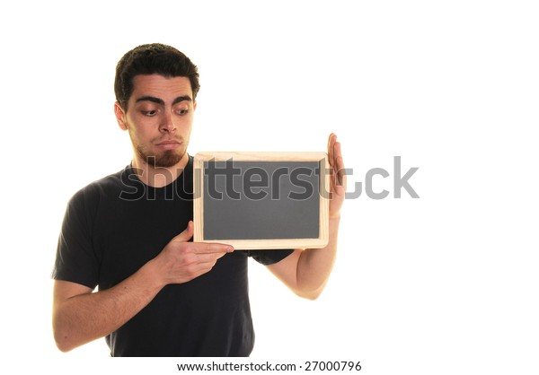 boy and blackboard over white background