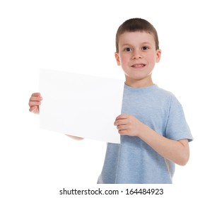 boy with blank sheet paper