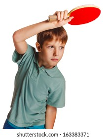 boy blond man table tennis children playing forehand takes topspin isolated on white background
