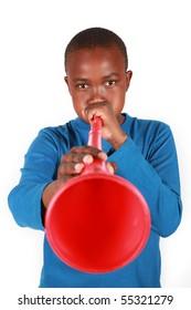 Boy Blowing Vuvuzela