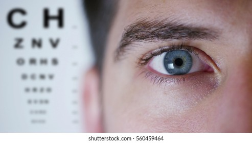 boy with blue eyes on background ophthalmologist and letters metrics miopismo and eye exam. concept of keen eyesight and eye examination. perfect vision