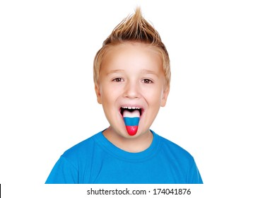 boy in blue shirt with russian flag on his  tongue