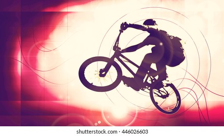 Boy with bmx. Vintage mood illustration