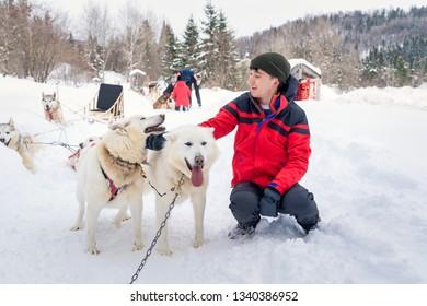 boy bonding with dogs after dog sledding