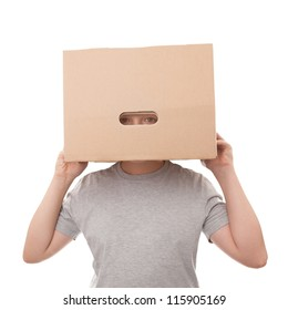 boy with a box on a head isolated on a white