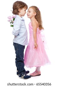 a boy with a bunch of flowers is standing near a beautiful girl. isolated on a white background