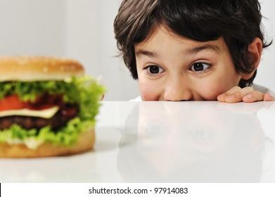 Boy and burger