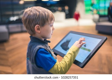 The boy buys shoes in the online store. There is a shoe on the electronic panel and a description in Polish and a price.