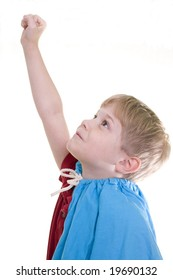 A boy in a came raises his hand.