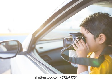 A boy in the camera view
