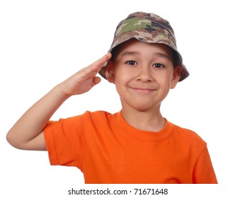 boy in camouflage hat and orange shirt saluting, isolated on white
