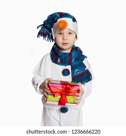 Boy in carnival costumes of snowmen. Stand hold hands isolated on white background
