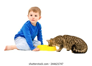 The boy and the cat who eats