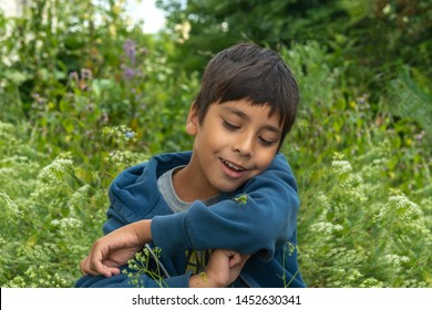 A boy caught a mantis or grasshopper in the forest and looks at it with curiosity.  Summer holidays for children.