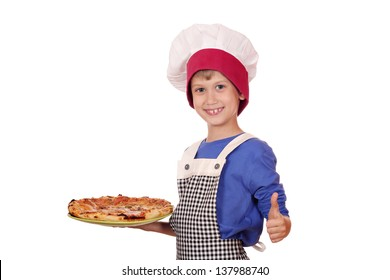 boy chef hold pizza and ok hand sign