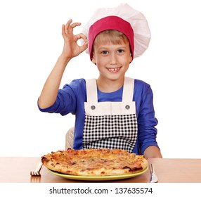 boy chef with pizza and ok hand sign