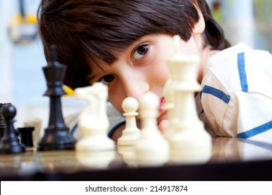 boy and chess, close-up, portrait