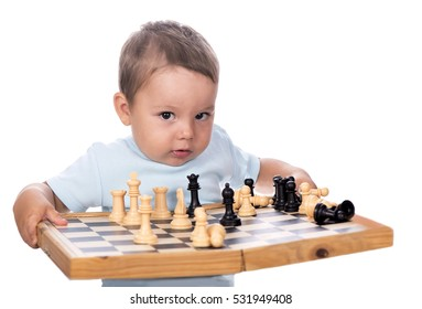 Boy and chess on a white background