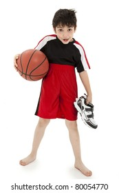 Boy child basketball playing nerd with ball over white background.