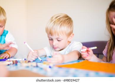 Boy child drawing