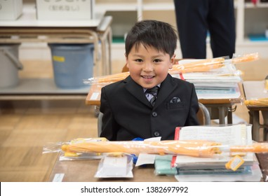 Boy in the classroom after the entrance ceremony