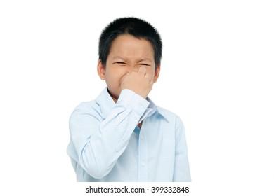 boy closing nose