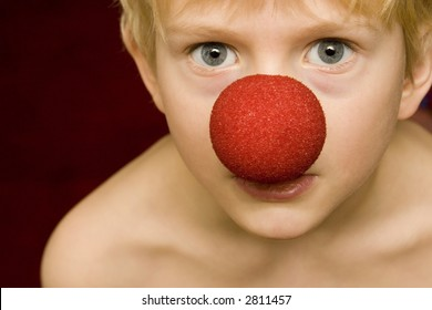 boy with clown nose