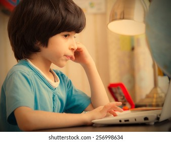 boy with computer, distance learning. instagram image retro style