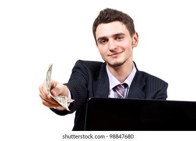 boy at the computer gives money