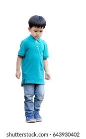A boy concentrate with walking. Isolated on white background