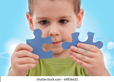Boy connect puzzles - blue background