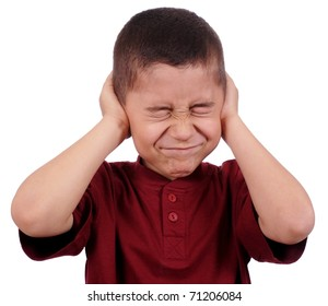 boy covering ears from loud noise, eight years old, isolated on pure white background