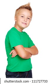 Boy with crossed hands