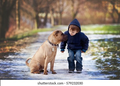 Boy with cute dog, giving him a kiss, wintertime