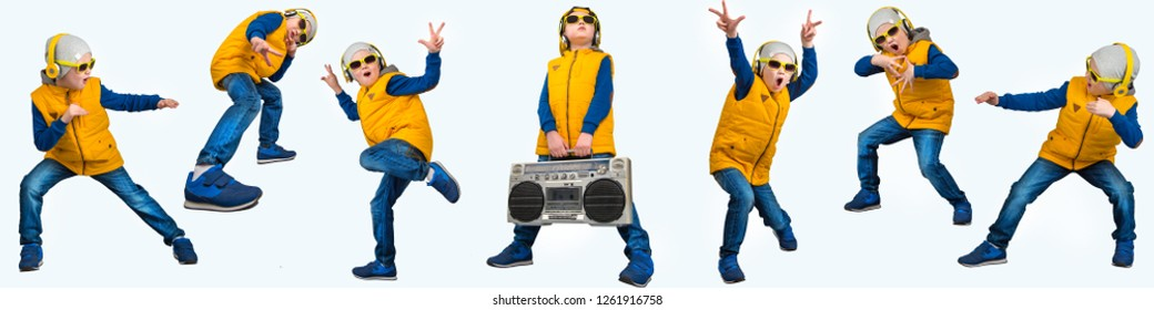 Boy dancing Hip-Hop . Children's fashion.The Young Rapper.Cool rap DJ.A collage of photos.