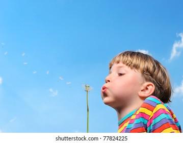 boy with dandelion on blue sky background