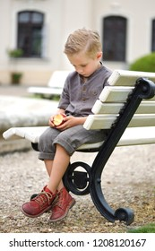 Boy dandy,  on a park bench, sad head down, holding an apple, blond hair, brown shirt, short knee-length pants.