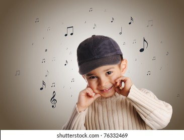 boy with denim cap singing, abstract musical notes flying around
