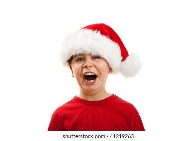Boy in disguise Santa Claus isolated on white background