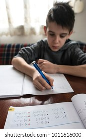 Boy do his homework. Notebook