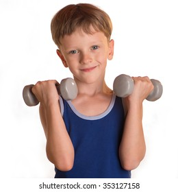 Boy does physical exercises with dumbbells bending and extending both hand. Man performs a gymnastic reception.