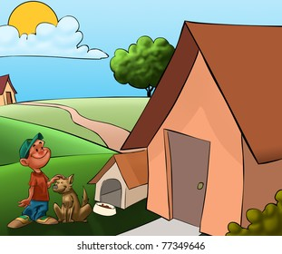 boy with a dog in front its house near to the house of boy