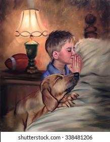 Boy and Dog Praying Bedtime Prayers