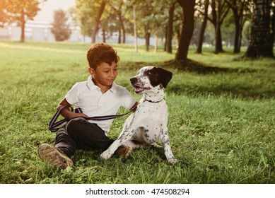 Boy and dog sit at the grass in the evening.