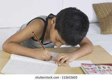 Boy doing homework at desk